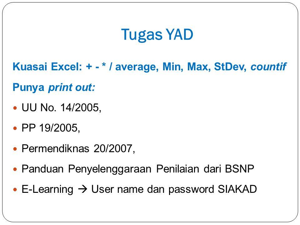 Tugas YAD Kuasai Excel: + - * / average, Min, Max, StDev, countif