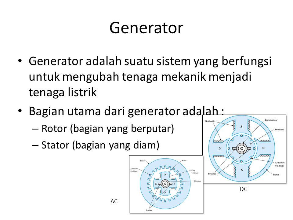 Generator Generator adalah suatu sistem yang berfungsi untuk mengubah tenaga mekanik menjadi tenaga listrik.