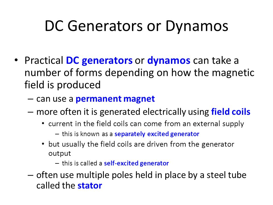 DC Generators or Dynamos
