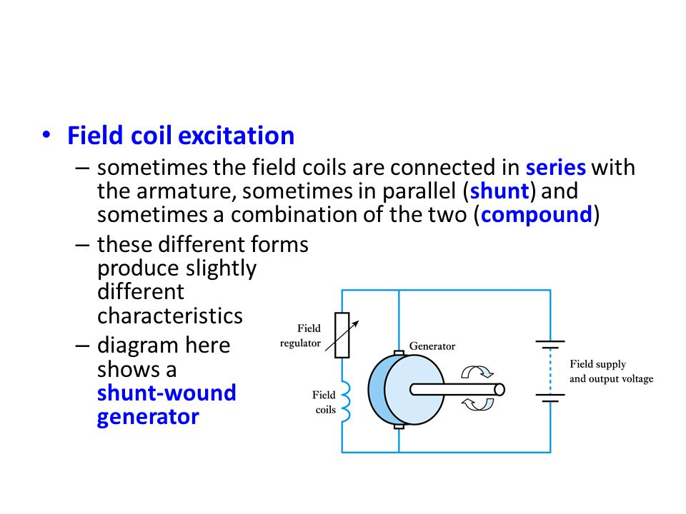 Field coil excitation