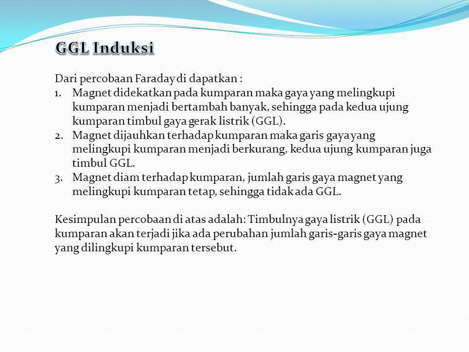GGL Induksi Dari percobaan Faraday di dapatkan :