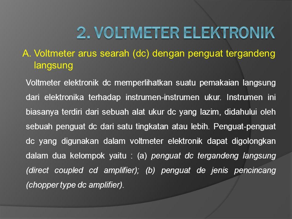 2. VOLTMETER ELEKTRONIK Voltmeter arus searah (dc) dengan penguat tergandeng langsung.