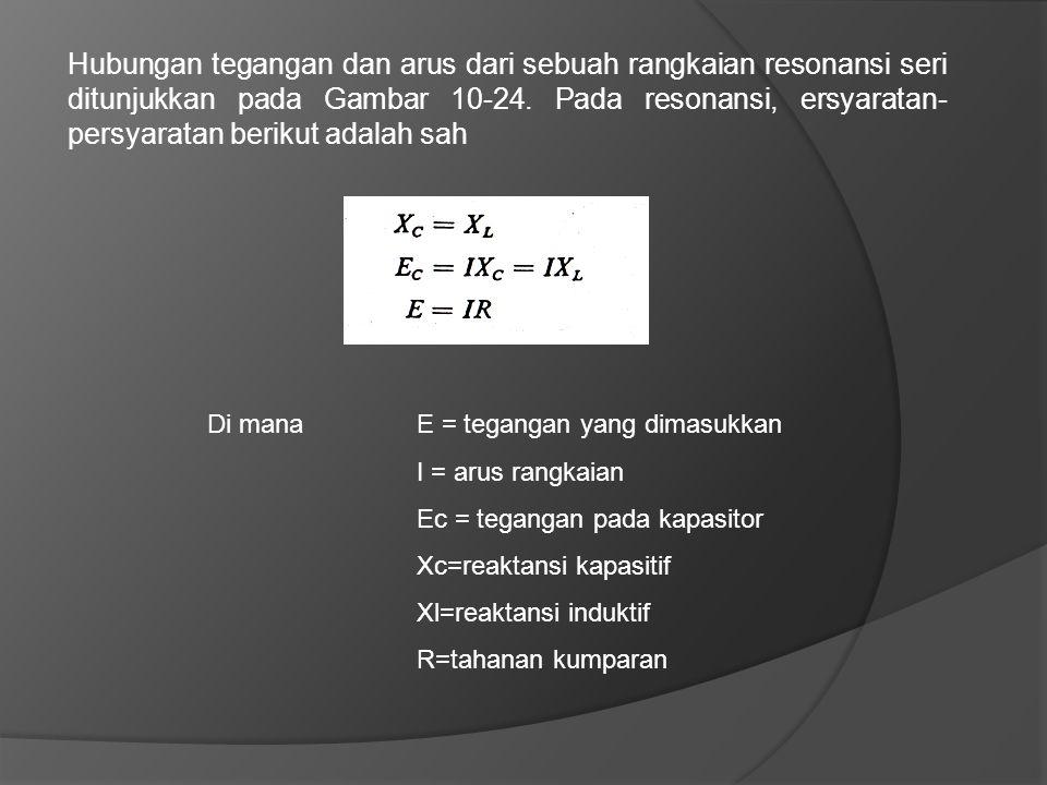 Hubungan tegangan dan arus dari sebuah rangkaian resonansi seri ditunjukkan pada Gambar 10-24. Pada resonansi, ersyaratan-persyaratan berikut adalah sah