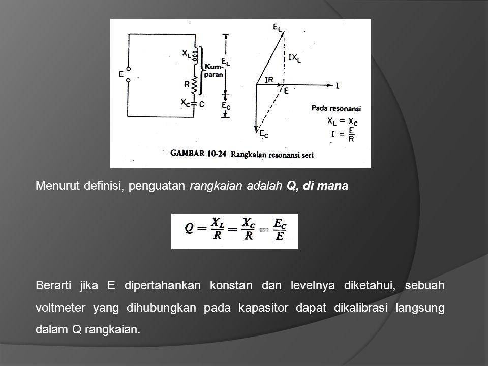 Menurut definisi, penguatan rangkaian adalah Q, di mana