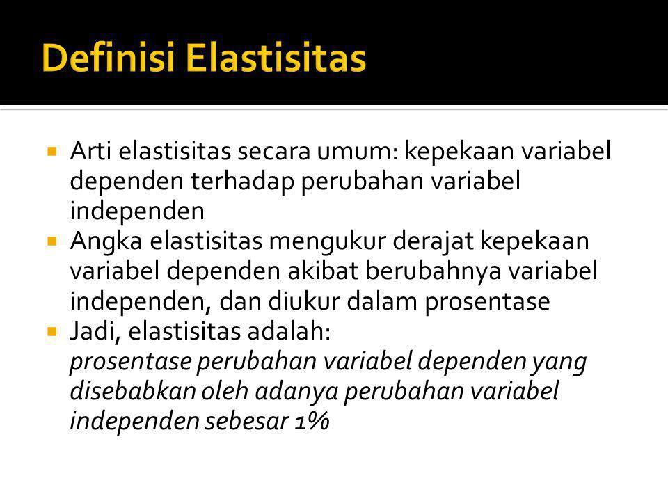 Definisi Elastisitas Arti elastisitas secara umum: kepekaan variabel dependen terhadap perubahan variabel independen.