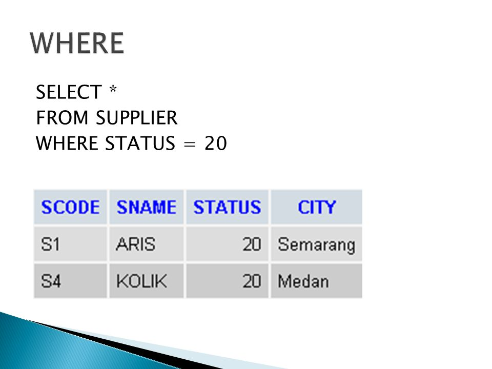 WHERE SELECT * FROM SUPPLIER WHERE STATUS = 20