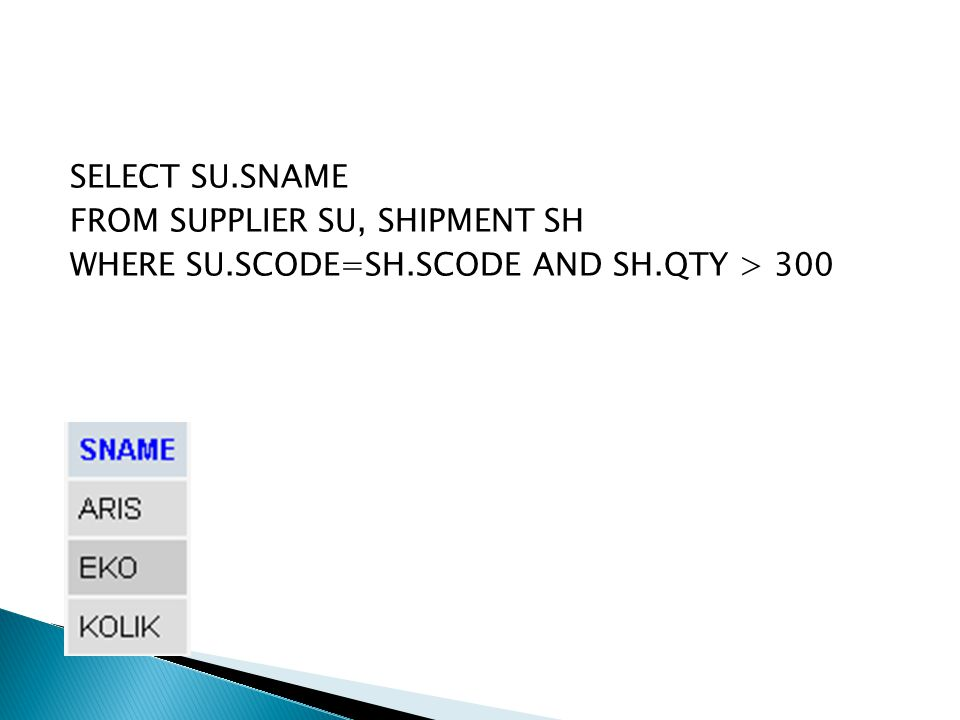 SELECT SU. SNAME FROM SUPPLIER SU, SHIPMENT SH WHERE SU. SCODE=SH