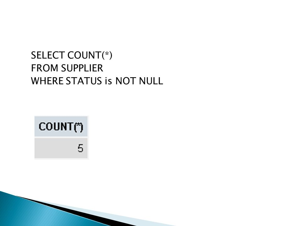 SELECT COUNT(*) FROM SUPPLIER WHERE STATUS is NOT NULL