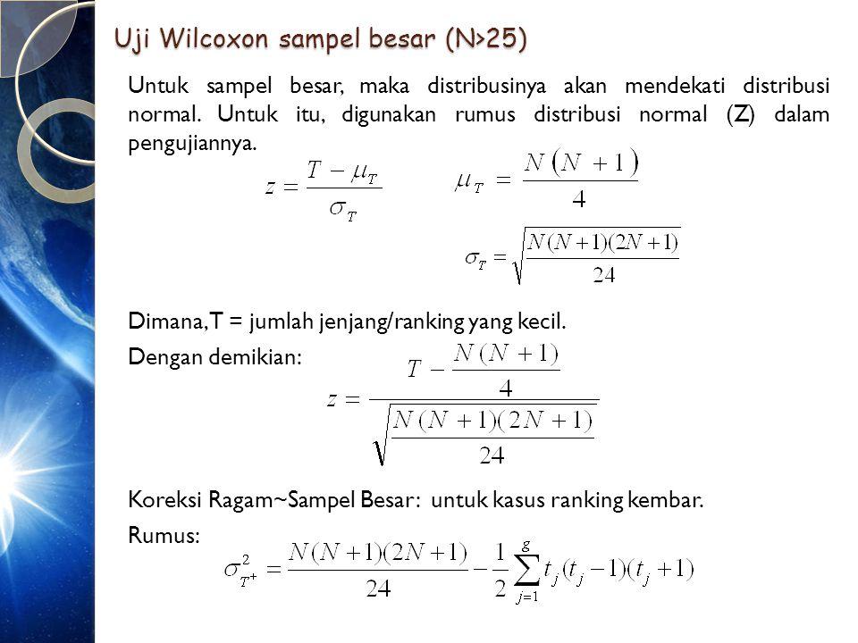 Uji Wilcoxon sampel besar (N>25)