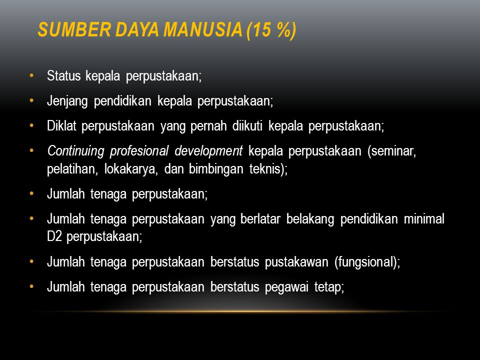 Sumber daya manusia (15 %)