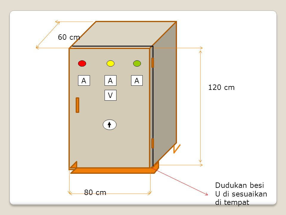 60 cm V A 120 cm Dudukan besi U di sesuaikan di tempat 80 cm