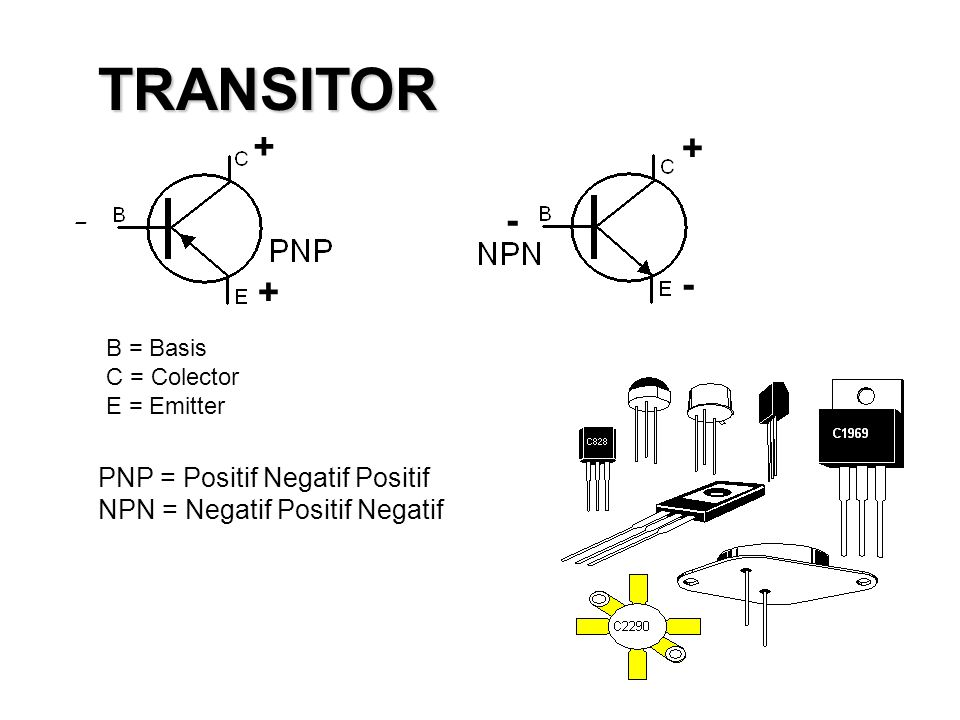 TRANSITOR + + - - - + B = Basis C = Colector E = Emitter.