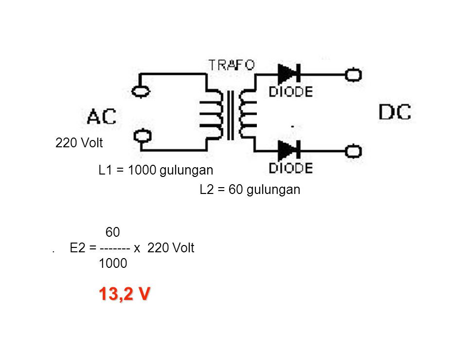 13,2 V 220 Volt L1 = 1000 gulungan L2 = 60 gulungan
