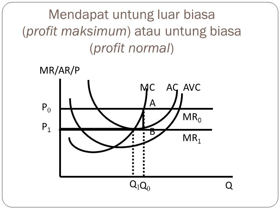 Mendapat untung luar biasa (profit maksimum) atau untung biasa (profit normal)