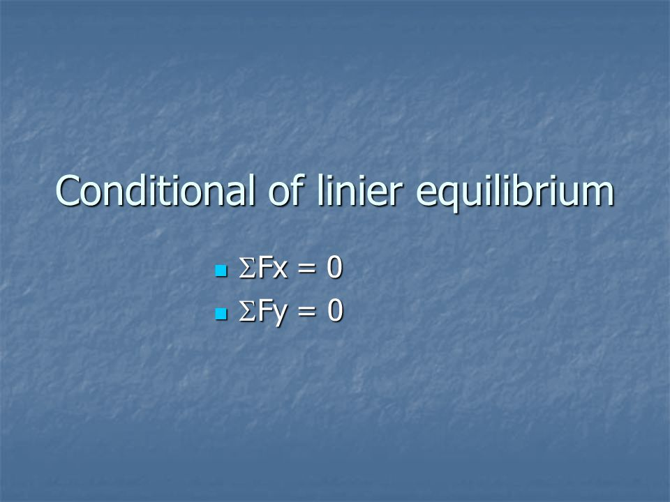 Conditional of linier equilibrium