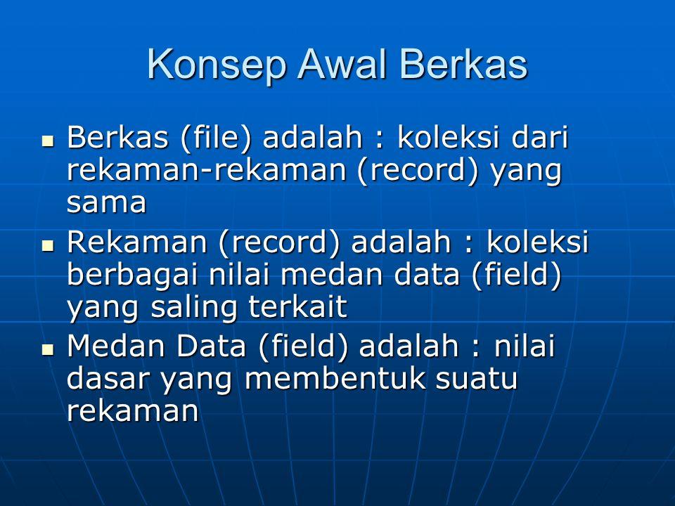 Konsep Awal Berkas Berkas (file) adalah : koleksi dari rekaman-rekaman (record) yang sama.