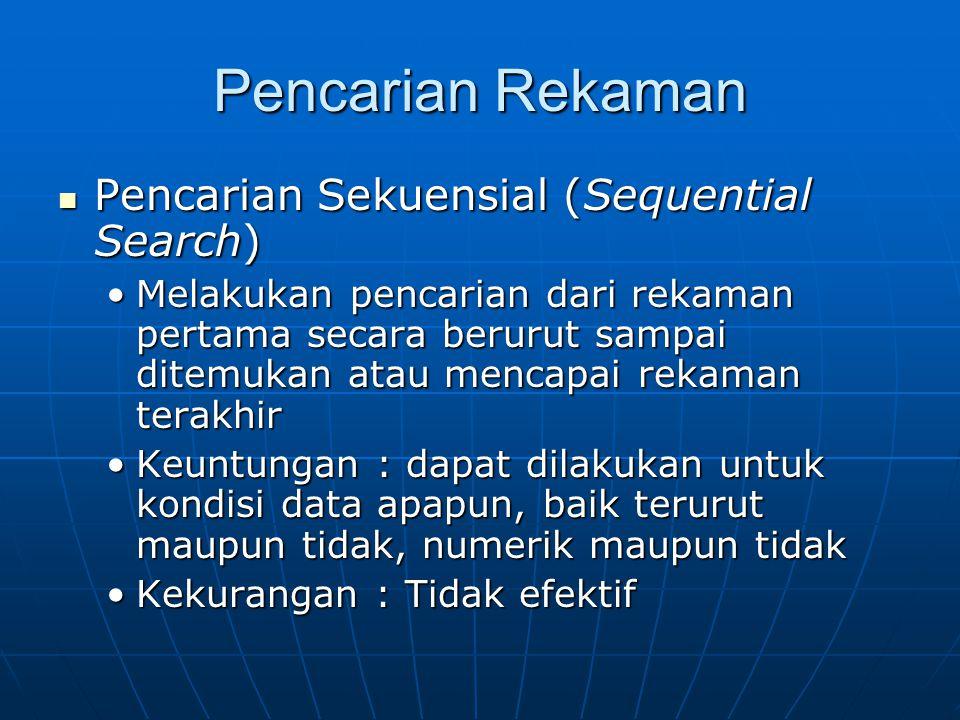 Pencarian Rekaman Pencarian Sekuensial (Sequential Search)