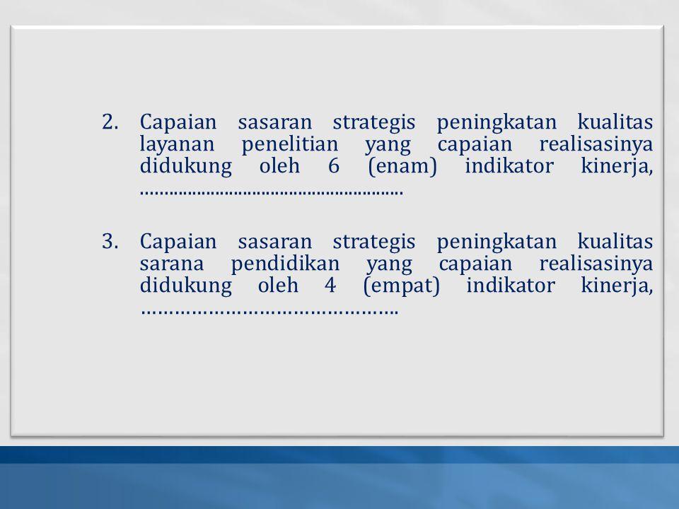 Capaian sasaran strategis peningkatan kualitas layanan penelitian yang capaian realisasinya didukung oleh 6 (enam) indikator kinerja, .........................................................
