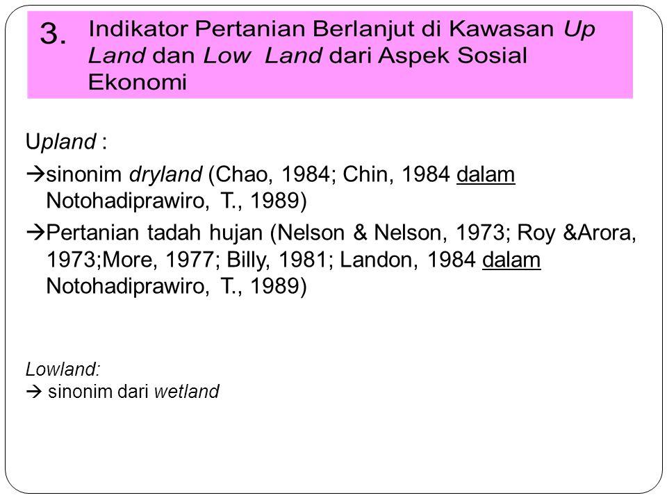Upland : sinonim dryland (Chao, 1984; Chin, 1984 dalam Notohadiprawiro, T., 1989)