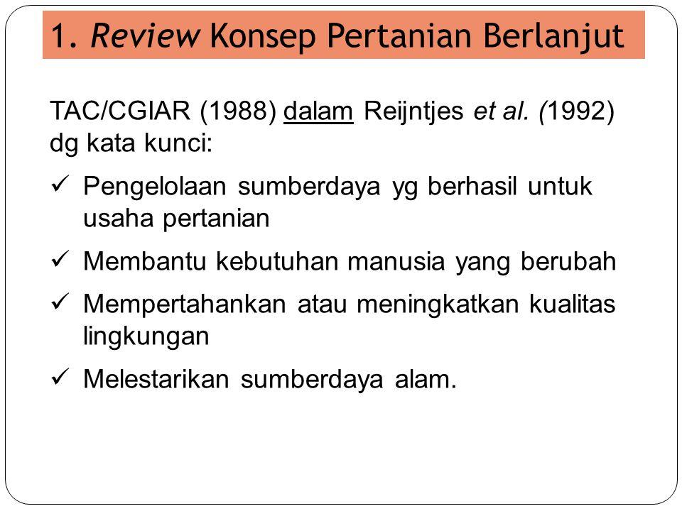1. Review Konsep Pertanian Berlanjut