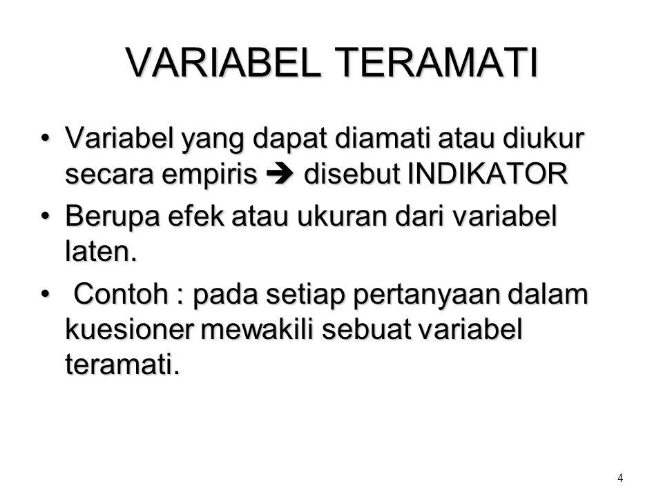 VARIABEL TERAMATI Variabel yang dapat diamati atau diukur secara empiris  disebut INDIKATOR. Berupa efek atau ukuran dari variabel laten.