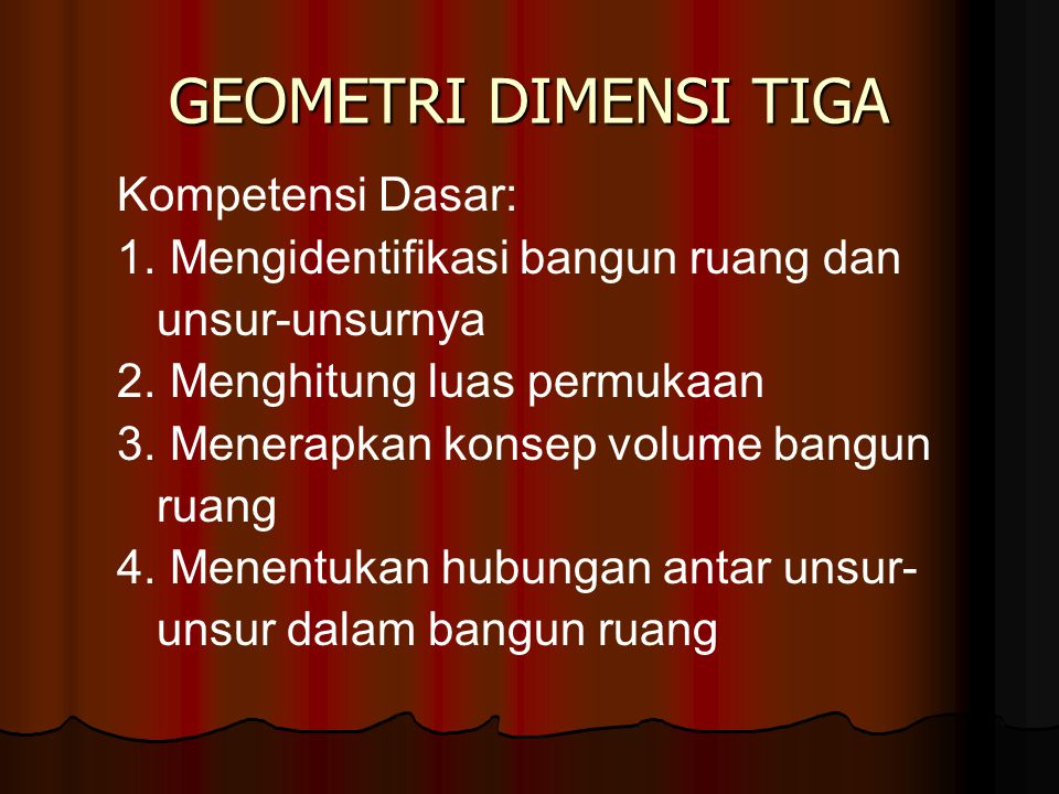 GEOMETRI DIMENSI TIGA Kompetensi Dasar: