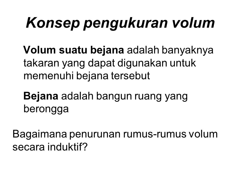 Konsep pengukuran volum
