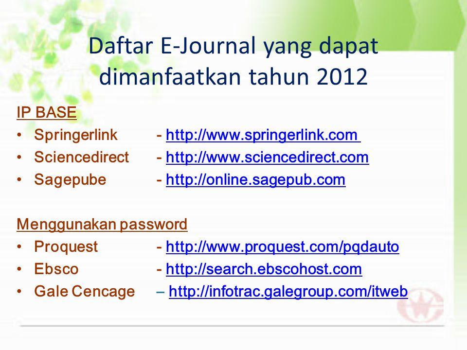 Daftar E-Journal yang dapat dimanfaatkan tahun 2012