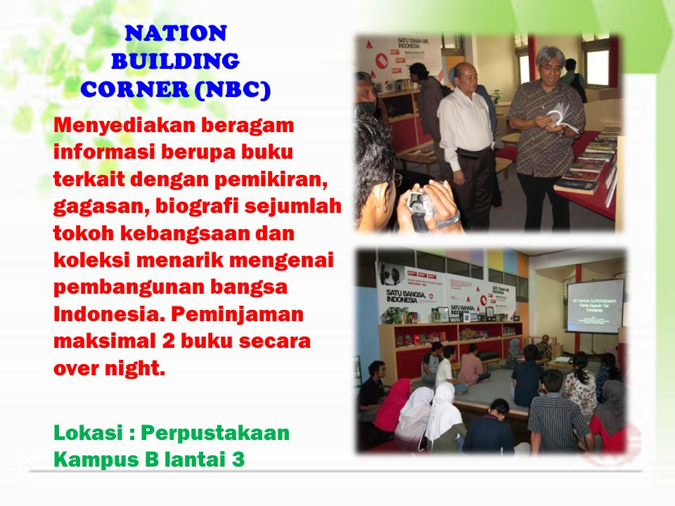 NATION BUILDING CORNER (NBC)