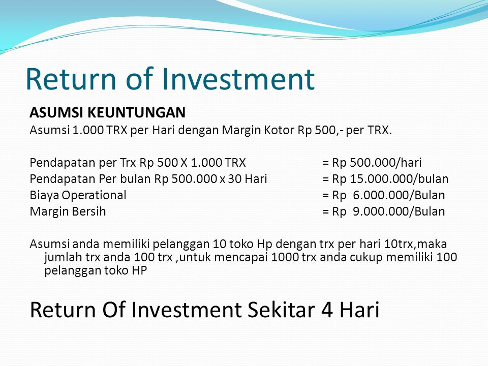 Return of Investment Return Of Investment Sekitar 4 Hari