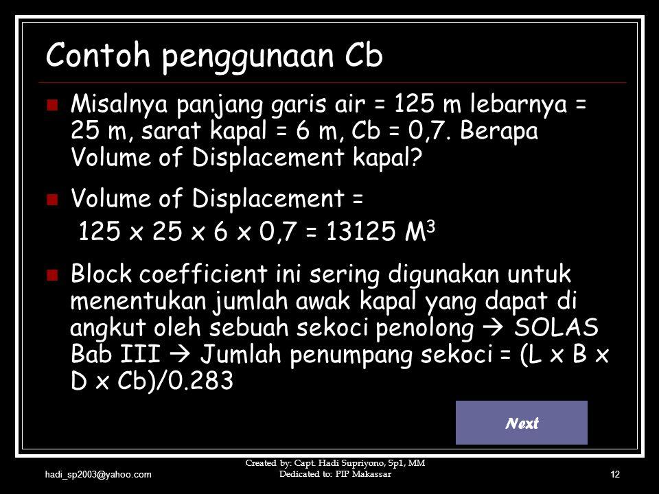 Contoh penggunaan Cb 125 x 25 x 6 x 0,7 = 13125 M3