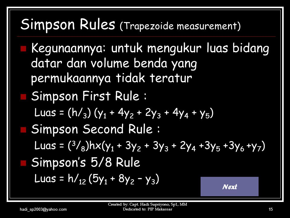 Simpson Rules (Trapezoide measurement)
