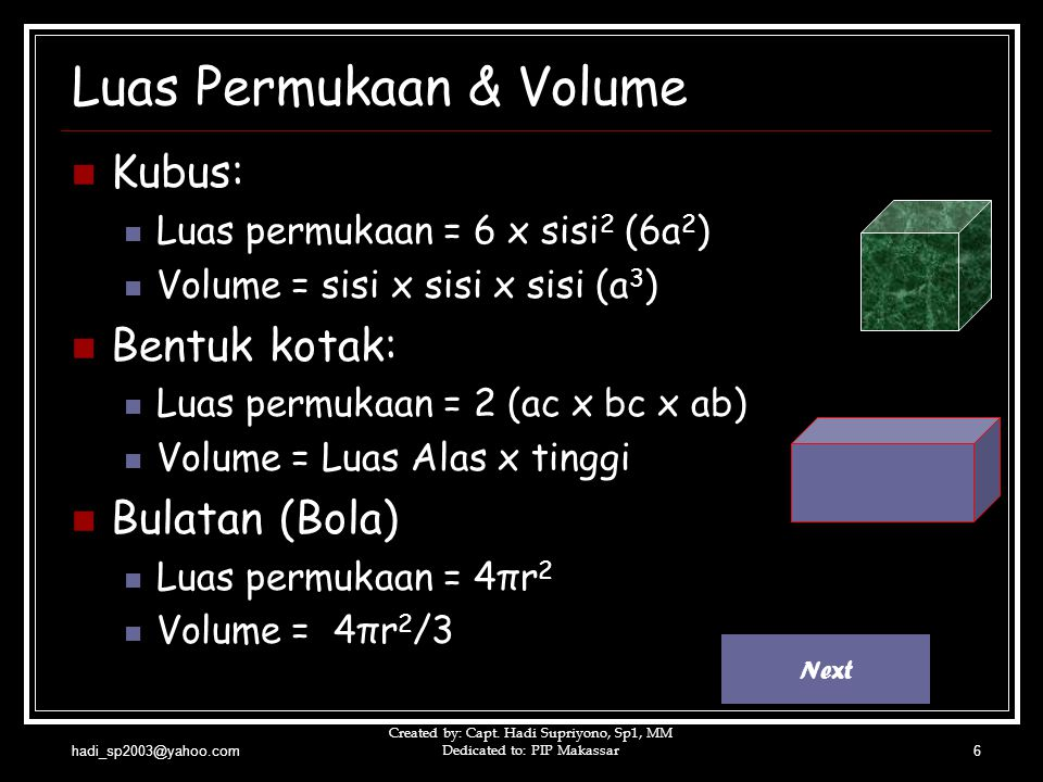 Luas Permukaan & Volume