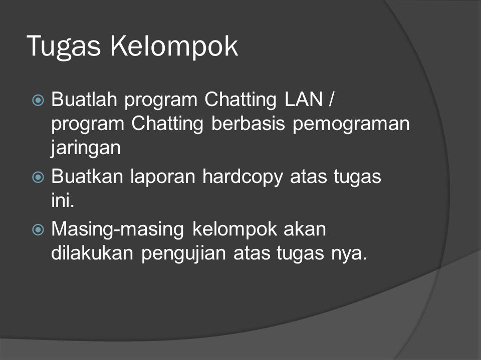 Tugas Kelompok Buatlah program Chatting LAN / program Chatting berbasis pemograman jaringan. Buatkan laporan hardcopy atas tugas ini.