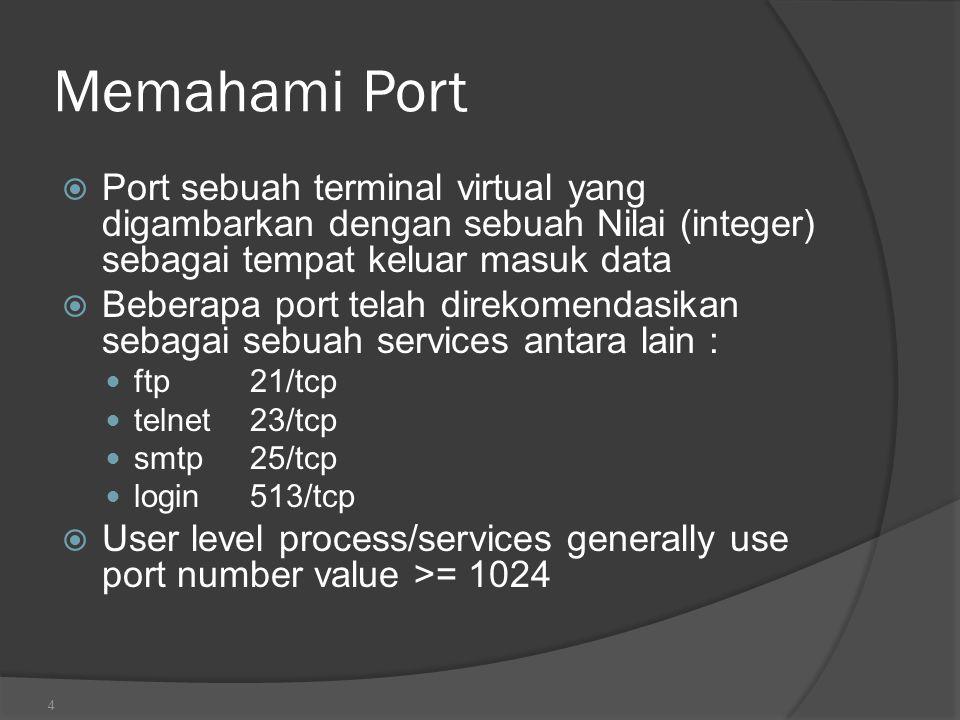 Memahami Port Port sebuah terminal virtual yang digambarkan dengan sebuah Nilai (integer) sebagai tempat keluar masuk data.