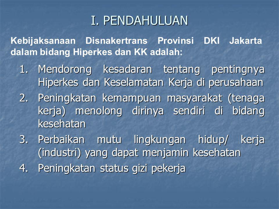 I. PENDAHULUAN Kebijaksanaan Disnakertrans Provinsi DKI Jakarta dalam bidang Hiperkes dan KK adalah: