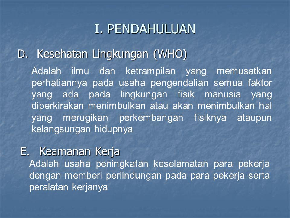 I. PENDAHULUAN Kesehatan Lingkungan (WHO) Keamanan Kerja