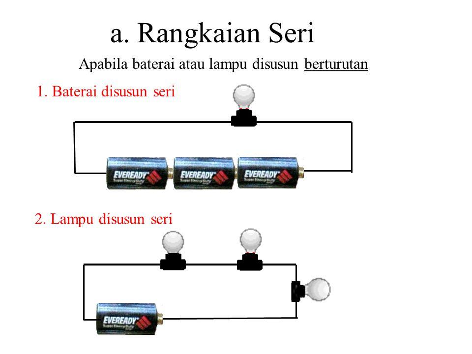 a. Rangkaian Seri Apabila baterai atau lampu disusun berturutan