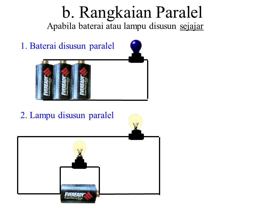 b. Rangkaian Paralel Apabila baterai atau lampu disusun sejajar