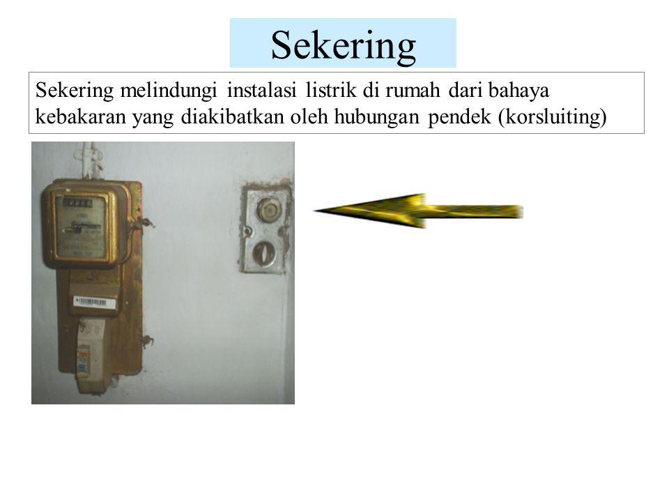 Sekering Sekering melindungi instalasi listrik di rumah dari bahaya kebakaran yang diakibatkan oleh hubungan pendek (korsluiting)