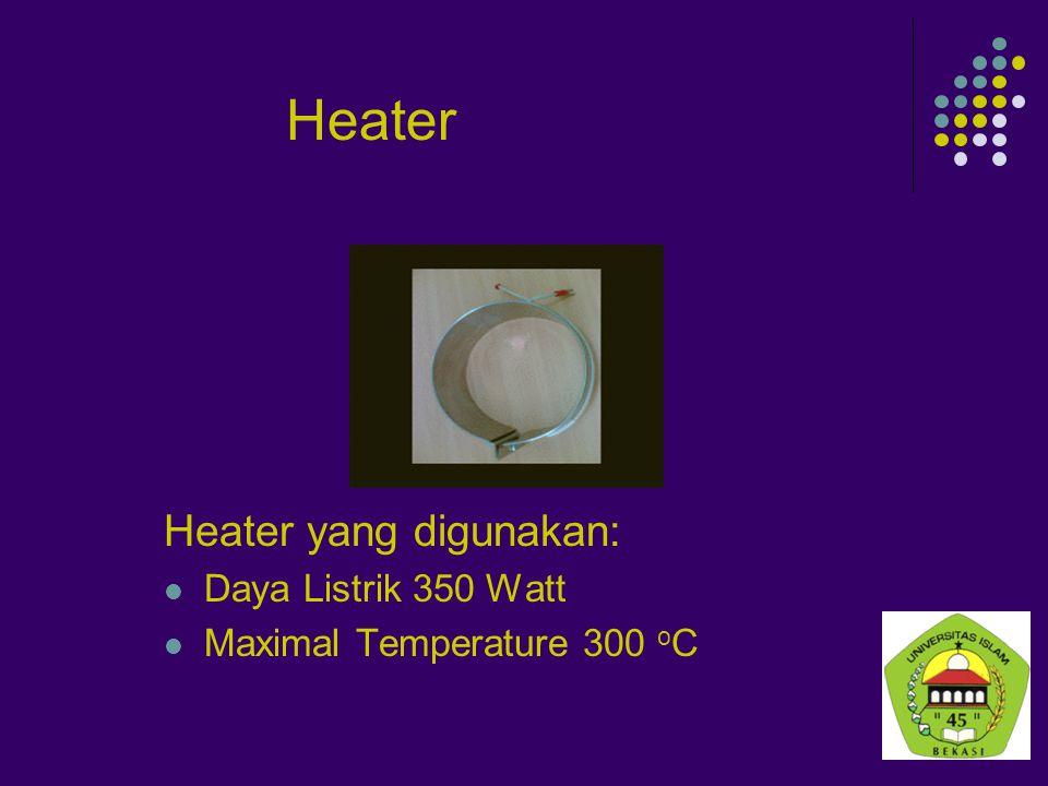 Heater Heater yang digunakan: Daya Listrik 350 Watt