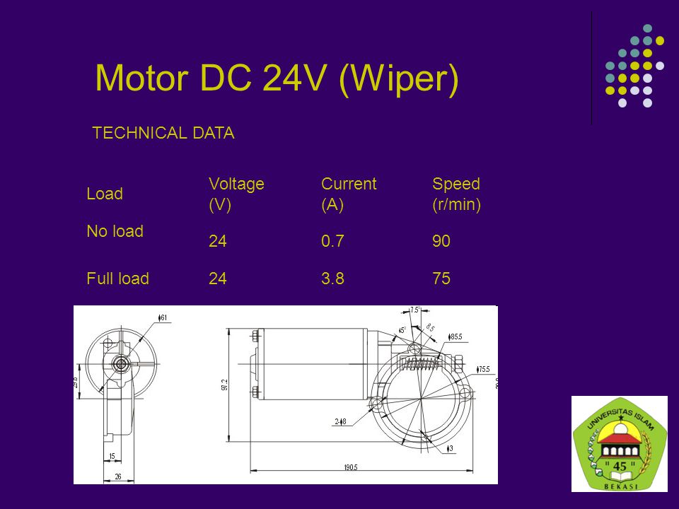 Motor DC 24V (Wiper) TECHNICAL DATA Load Voltage (V) Current (A)