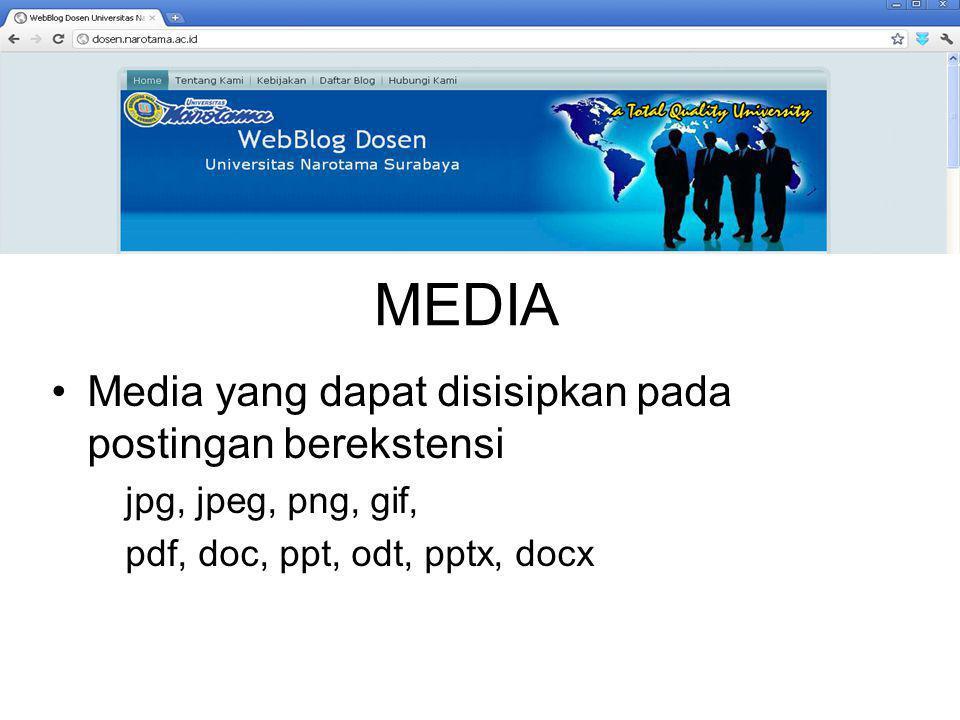 MEDIA Media yang dapat disisipkan pada postingan berekstensi