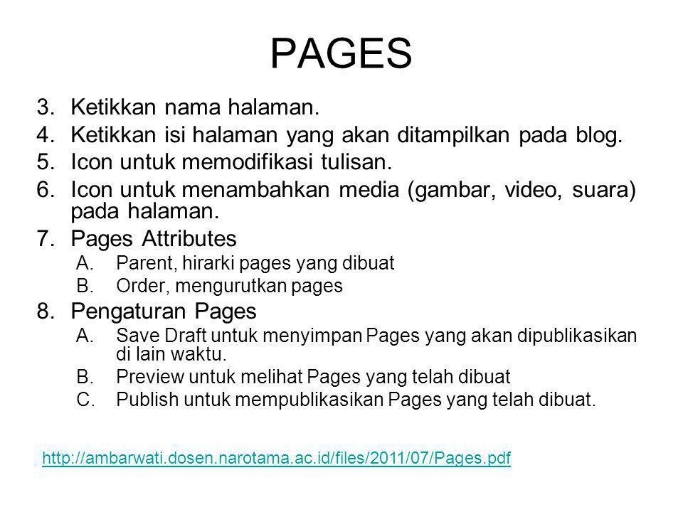 PAGES Ketikkan nama halaman.
