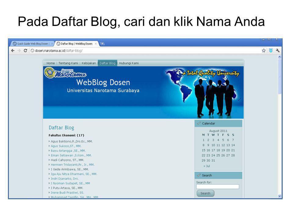 Pada Daftar Blog, cari dan klik Nama Anda