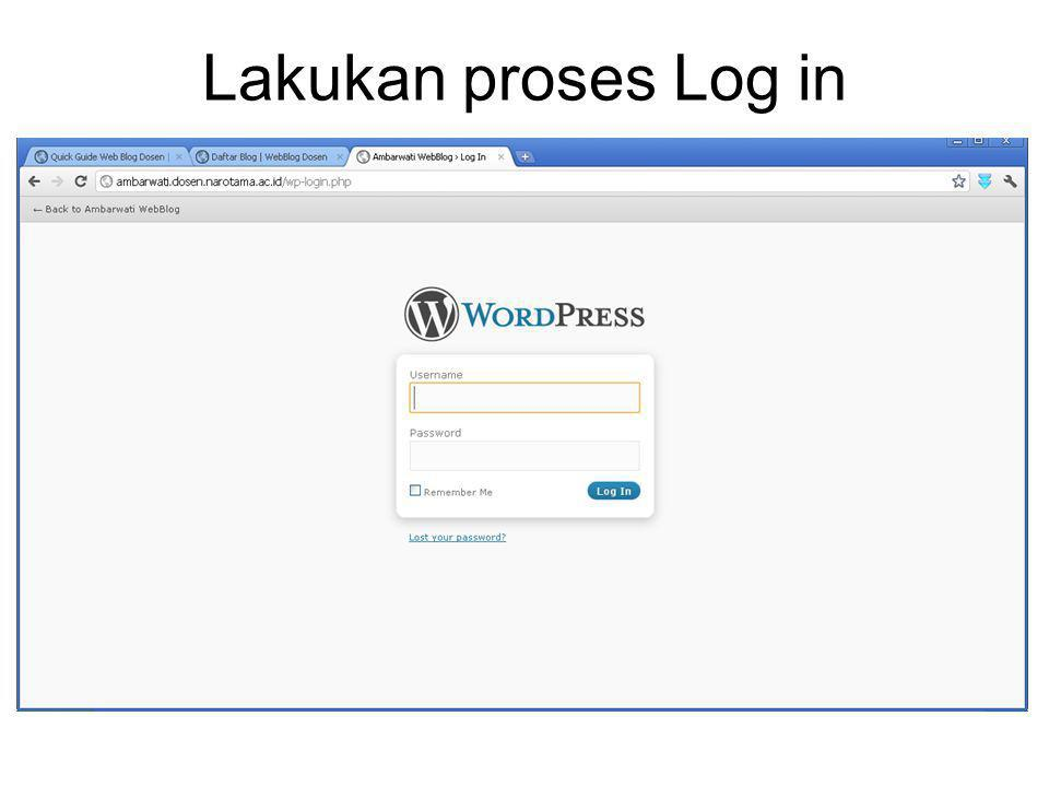 Lakukan proses Log in
