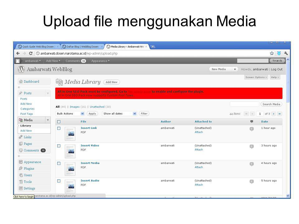 Upload file menggunakan Media