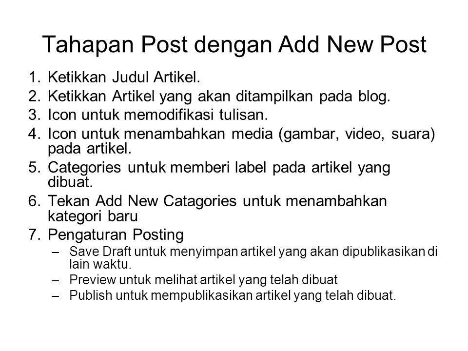 Tahapan Post dengan Add New Post