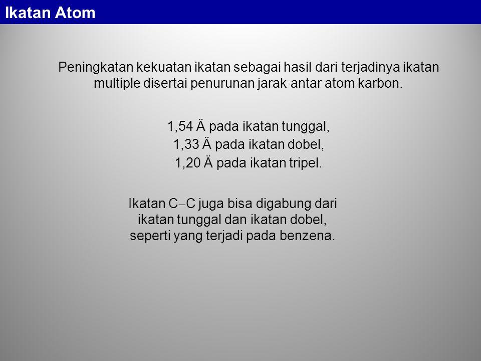 Ikatan Atom Peningkatan kekuatan ikatan sebagai hasil dari terjadinya ikatan multiple disertai penurunan jarak antar atom karbon.