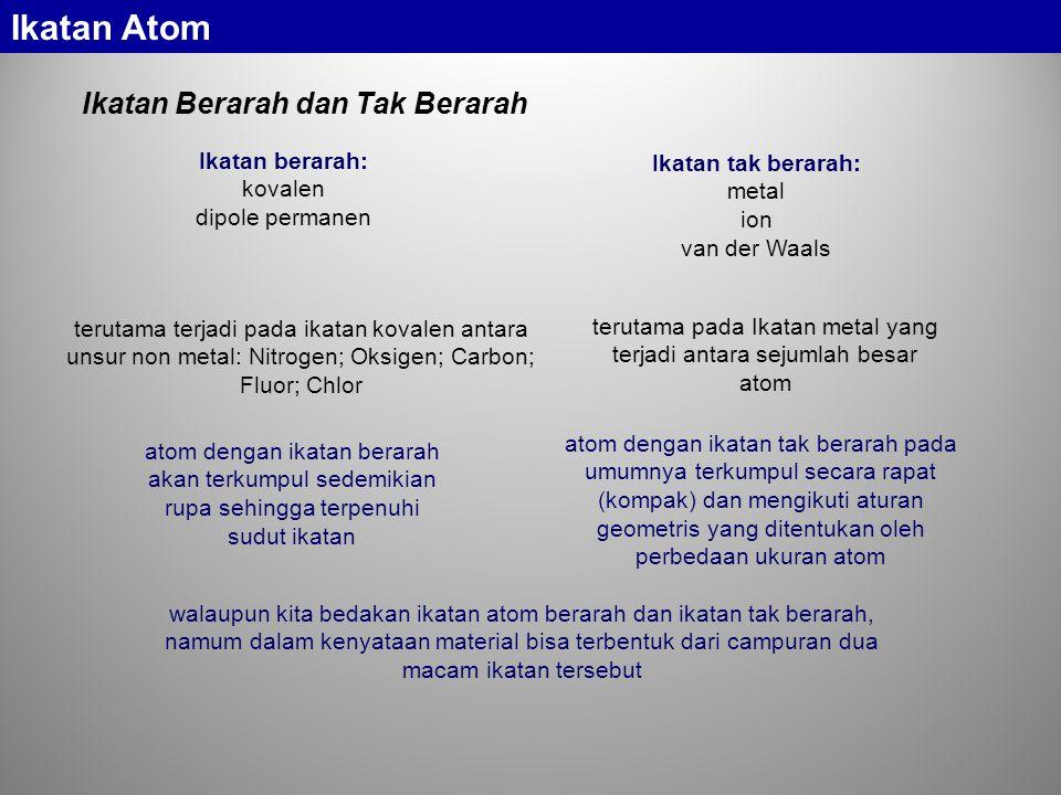 terutama pada Ikatan metal yang terjadi antara sejumlah besar atom